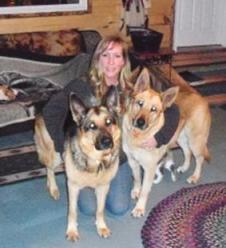 cathy-kaufman and her two german shepards